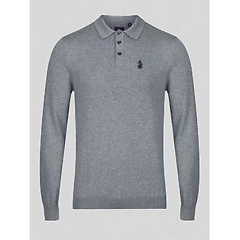 Luke 1977 Magnesium Knitted Long Sleeve Polo - Mid Marle Grey