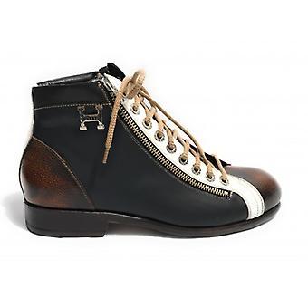 Men's Shoes Harris Polish Multicolor Black/ White/ Brown Double Zip Soccer Bottom U17ha71