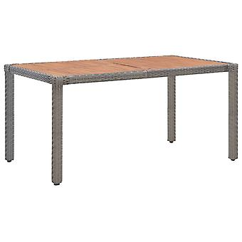 Garden Table Grey 150x90x75 Cm Poly Rattan And Solid Acacia Wood