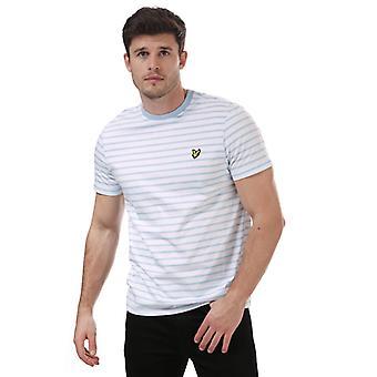 Men's Lyle And Scott Breton Stripe T-Shirt en Bleu
