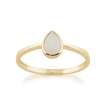 Gemondo 9ct ct 0,25 oro amarillo en forma de pera Opal enmarcado anillo