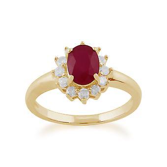 Gemondo 9ct oro giallo 1,06 ct Ruby & diamante ovale Cluster Ring