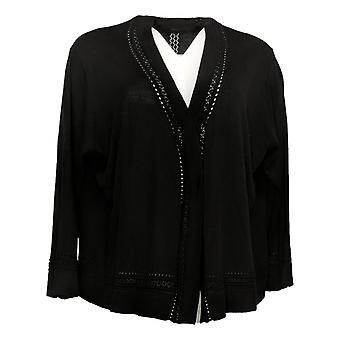 Nina Leonard Women's Sweater Plus Bolero Pointelle Trim Black 643010