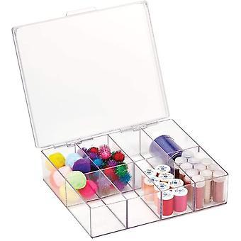 Wokex Sortierbox für Näh- und Bastelbedarf – Aufbewahrung quadratischesbox mit Deckel und 8