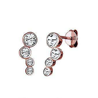 Elli Kvinders øreringe i sølv 925 forgyldt roseguld med hvide krystaller