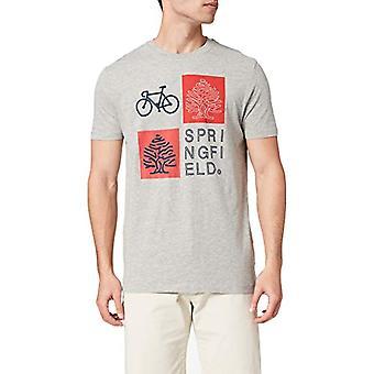 Springfield Camiseta Regular Logo Reconsider T-Shirt, Medium Grey, XL Men's
