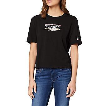 Tommy Jeans Tjw Detalle de manga Logo Camiseta, Negro (Negro Bds), 42 (Una Talla: Mediana) Mujer