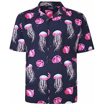 ESPIONAGE Espionage Mens Big Size Jelly Fish Print Casual Cotton Short Sleeve Shirt