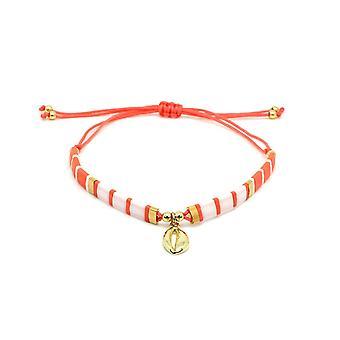 Boho betty casimiora orange tila bead shell friendship bracelet