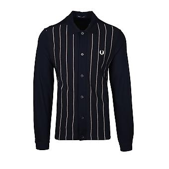 Fred Perry Knitted Panel Track Jacket Navy
