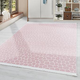 Diseño de la alfombra de la sala de estar Alfombra suave Lavable Motivo de piso de piedra antideslizante Rosa