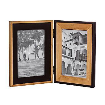 Sass & Belle Black & Natural Wood Double Frame
