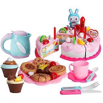 62Pcs ורוד צעצוע של צעצוע סימולציה עוגה להגדיר עם אורות עוגת יום הולדת אחר הצהריים חטיפי תה ילדים מתנות az11176