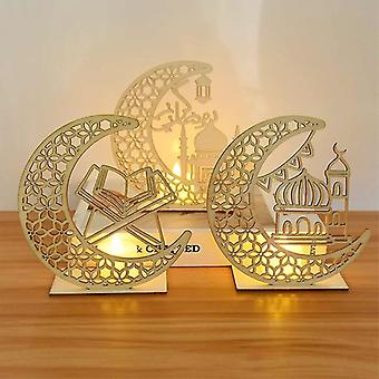 EID Mubarak Wooden Pendant with LED Candles Light Ramadan Decorations For Home Islamic Muslim Party