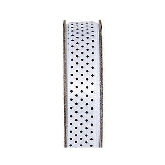 LAST FEW - 3m Blanche-Neige 10mm de large Polka Dotted Satin Craft Ribbon