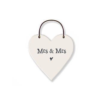 Mrs & Mrs - Mini Wooden Hanging Heart - Wedding Cracker Filler Gift