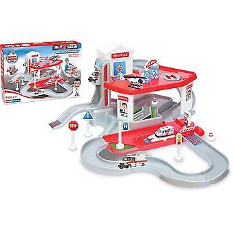 Dede Kit de Jouet de Garage, Garage 2 étages, avec une ambulance et un hélicoptère +3 ans, jouets garcon-fille educative