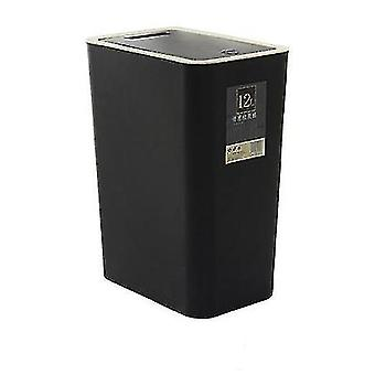 12 liters sorting trash can, rectangular plastic household trash can with lid(Black)
