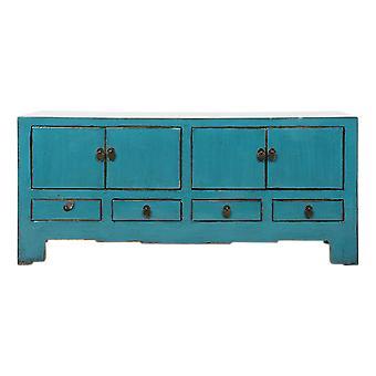 Fijne Aziatischeliving antieke Chinese tv-kast blauw glanzend W135xD39xH60cm