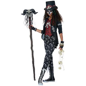 Voodoo Charm Witch Doctor Ritual Skeleton Day Of The Dead Tween Girls Costume