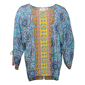 Belle yB Kim Gravel Women's Top Medallion Ruched Sleeve Blouse Blue A351261