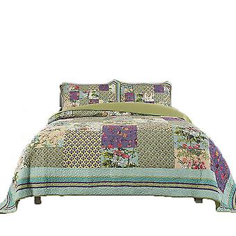 Cotton patchwork bedspreads sets with real stitched embroidery floral pattern (1 quilt plus 2 pillowcase)