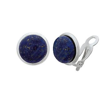 Eternal Collection Serenity Lapis Lazuli Sterling Silver Clip On Earrings