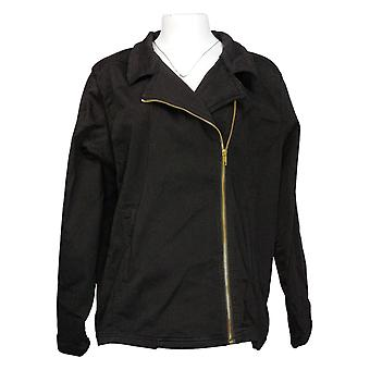 IMAN Global Chic Women's Plus Illusion Denim Moto Jacket Black 735583