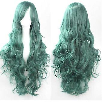 (Green) Woman Long Curly Wigs Cosplay Halloween Costume Anime Hairs Wavy Full Wig Hair