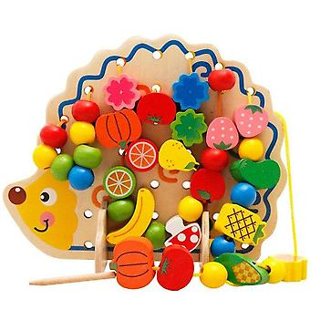 Wooden Fruits Vegetables Lacing Stringing Beads Toys With Hedgehog Board  Educational  Toy 82PCS|