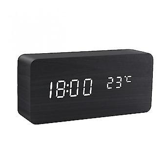Alarm clocks led alarm clock wooden watch table voice control digital wood despertador usb/aaa powered electronic