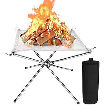 Fire Pit Outdoor Wood Burning Campin, 16in Steel Mesh With Carry Bag