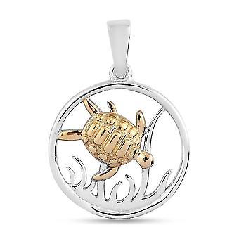 TJC Marine Life Turtle Anhänger für Damen in Platin & Vergoldetes Silber