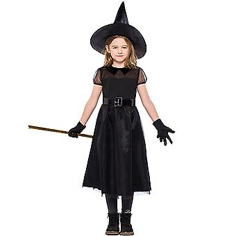 Kids Girls Halloween Witch Costume Cosplay Fancy Dress Hat Outfit Set