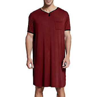 Bărbați cu mânecă scurtă Nightshirt T-shirt Pijamale Long Top Baggy Comfy Sleepwear