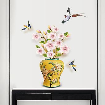 Vintage 3d Flower Bottle Wall Naklejki Biuro Salon Naklejki ścienne