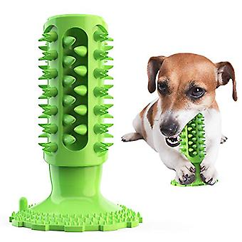 Dog Toothbrush Chewing Toy Tooth Cleaning Toy Durable And Tough Puppy Teeth Chewing Natural Rubber Brushing Stick(green)