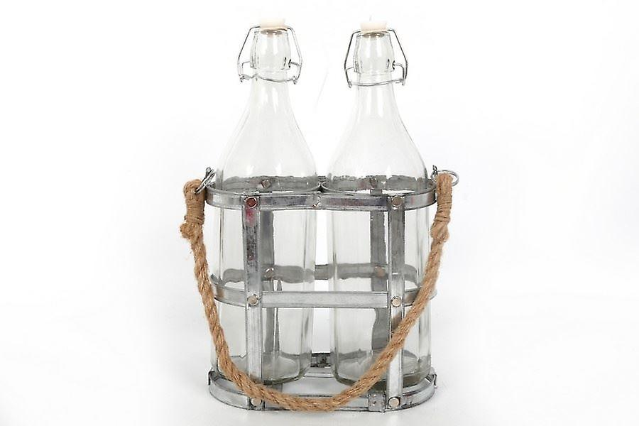 2 GLASS BOTTLES IN A METAL GALVANISED HOLDER WITH SEA GRASS HANDLE