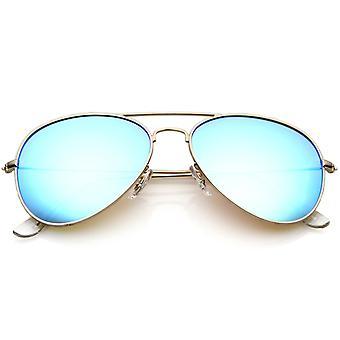 Premie nikkel vergulde Frame multi-coating Mirror Lens Aviator zonnebril 59 mm