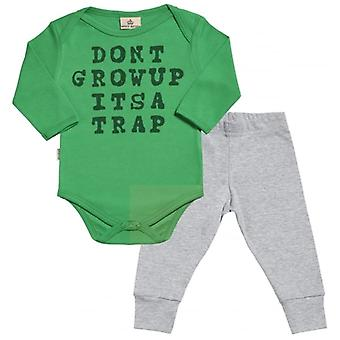 Spoilt Rotten Don't Grow Up It's A Trap Babygrow & Jersey Trousers Outfit Set