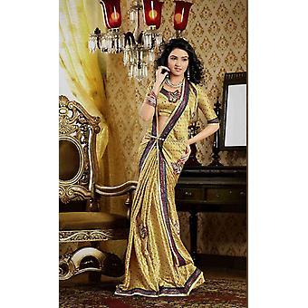 Darpana Golden Faux Crepe lusso partito indossare Sari saree