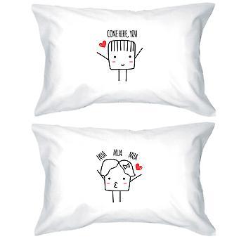 Come Here Mua Mua Mua White Matching Pillowcases Egyiptian Cotton