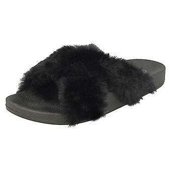 Ladies Spot On Fur Mules F00086