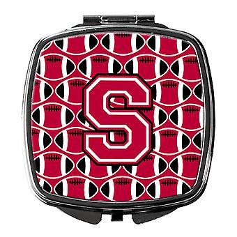 Letter S Football Crimson and White Compact Mirror
