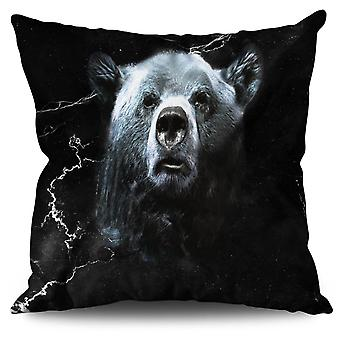 Wild Animal Bear Beast Linen Cushion 30cm x 30cm | Wellcoda