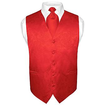 Men's Paisley Design Dress Vest & NeckTie Neck Tie Set for Suit or Tux