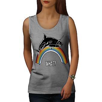 Shark Rainbow Cool Women GreyTank Top | Wellcoda
