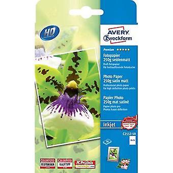 Avery-Zweckform Premium Fotopapir Blekkskriver C2552-50 Fotopapir 10 x 15 cm 250 g/m² 50 ark Halvglanset