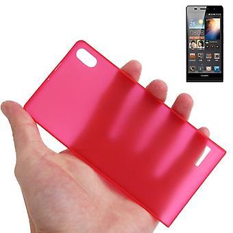 Housse de protection boîtier ultra mince 0,3 mm pour mobile Huawei Ascend P6 rouge transparent
