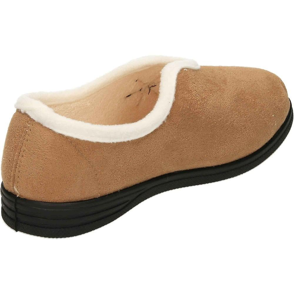 Cushion-Walk Beige Warm Lined Slip On V Front Slippers